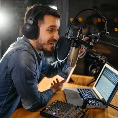 Radio Announcer with laptop